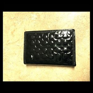 Coach Black Patent Leather Card Case